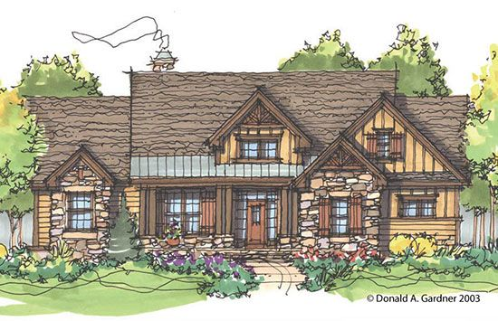 Plan of the week over 2500 sq ft the cloverbrook plan for Rustic home designs with open floor plan