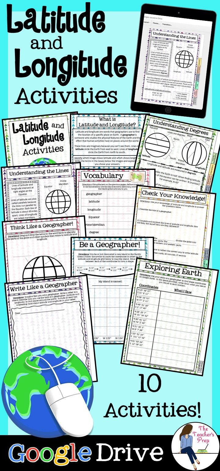 This resource would be great for Google Classroom. It includes interactive sites that will teach you about longitude and latitude.