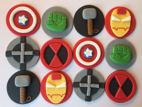 Superhero Fondant Cupcake Cookie Toppers inspired by LuluBellCakes