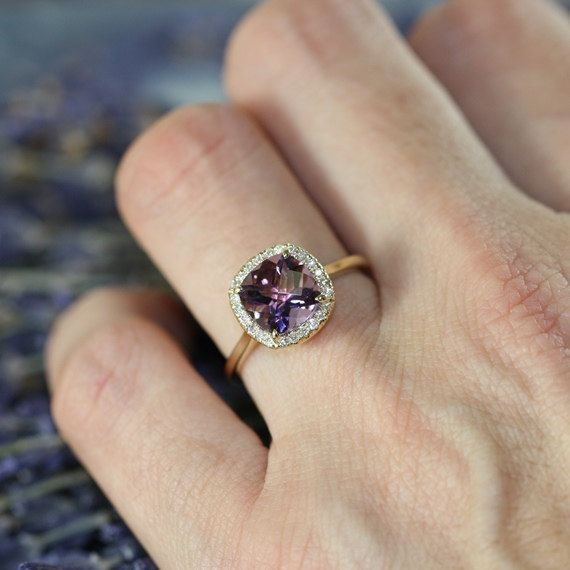 Purple Amethyst Engagement Ring in 14k Yellow Gold by LaMoreDesign