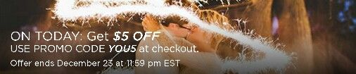 Discover something uniquely YOU. Use code YOU5 at checkout to redeem $5 OFF unique products & services for your wedding at wedspire.com - all day TODAY!  Enjoy DAILY $5 OFF codes on select categories, deals of up to 50% OFF & DOUBLE REWARDS POINTS on every purchase!