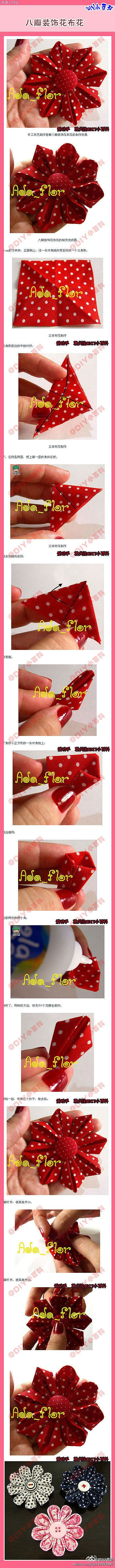 The handmade DIY Meng matter [eight decorative fabric flowers] three-dimensional fabric flower corsage ...