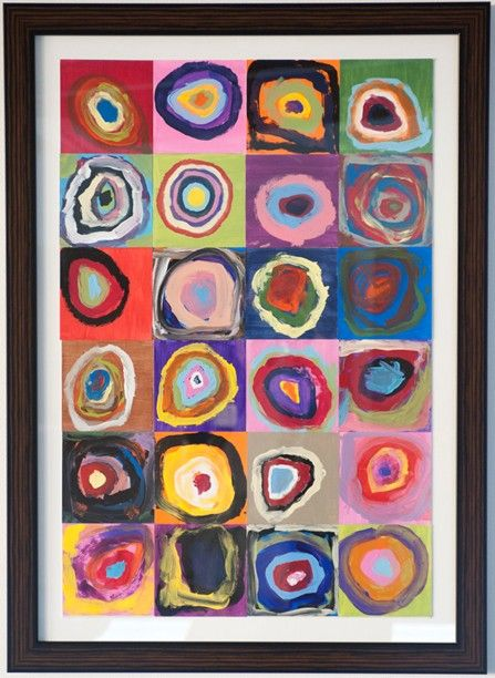 School Auction Projects | Each kindergartener has painted individual color circles which were ...