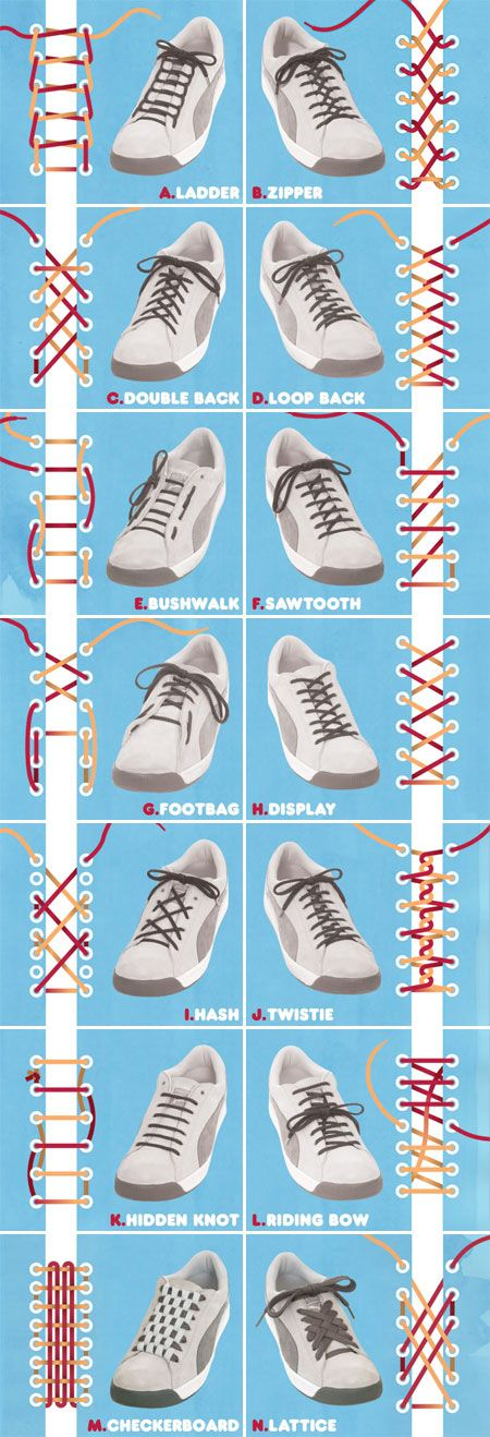Different ways to tie your shoe laces