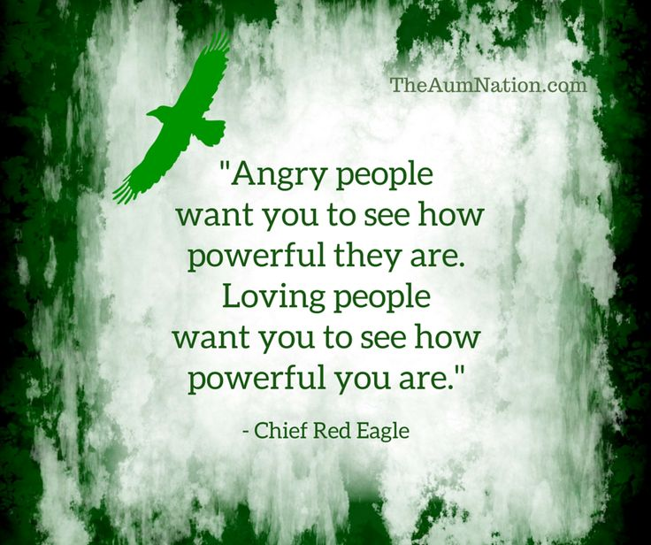 """""""Angry people want you to see how powerful they are.  Loving people want you to see how powerful you are."""" - Chief Red Eagle"""
