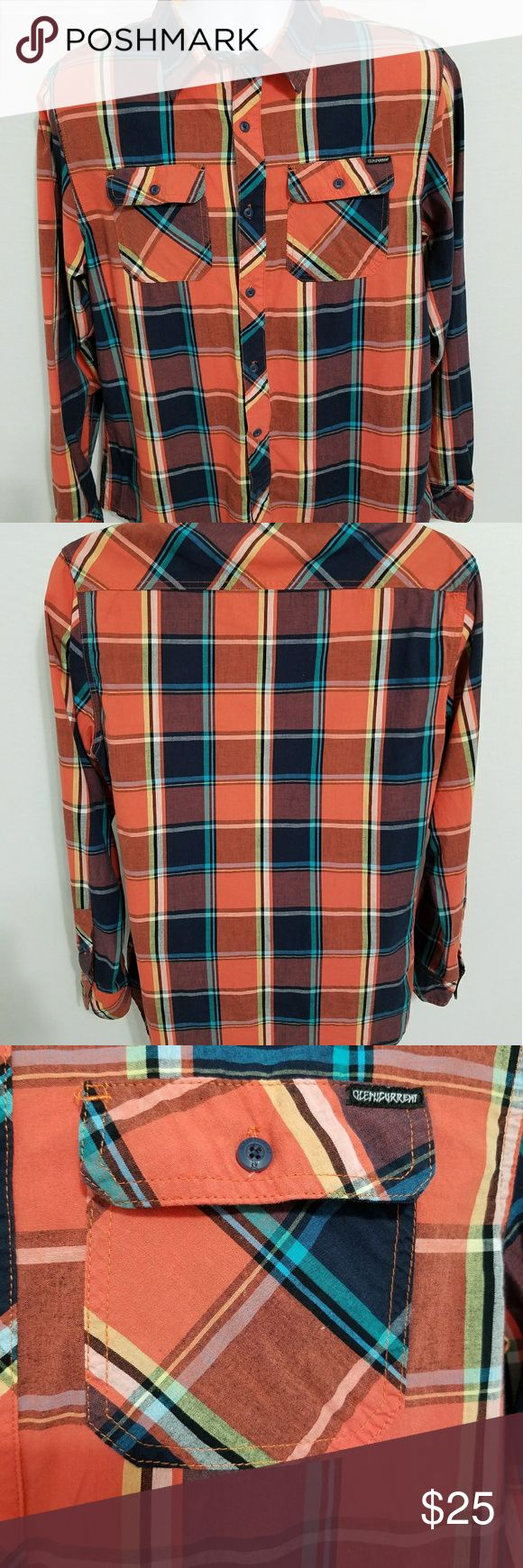 Ocean current plaid Lumberjack shirt medium Men's and you say ocean current plaid Lumberjack shirt size medium hundred percent cotton button-down casual shirt orange Navy white and some lighter blue. 22in armpit to armpit 28 in Long. Measurements are approximate feel free to ask any questions Ocean Current Shirts Casual Button Down Shirts