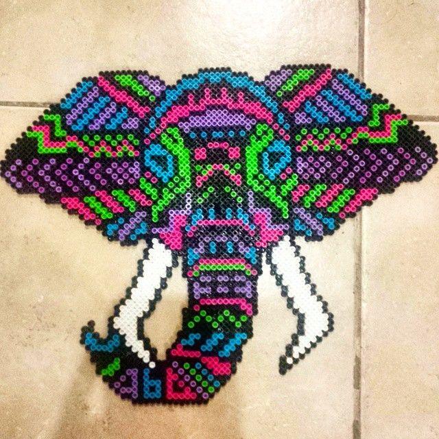Tribal elephant perler beads by klawdyav