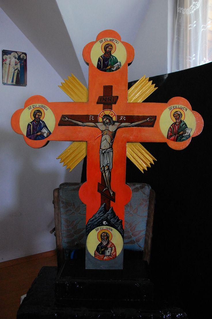 https://flic.kr/p/EvWQF9 | Răstignirea Mântuitorului Iisus Hristos cu cei patru Evanghelisti | tempera pe panza lipita pe lemn