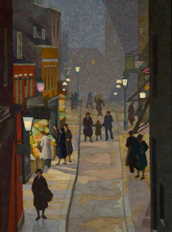 Charles Ginner, Flask Walk, Hampstead at night, 1933.