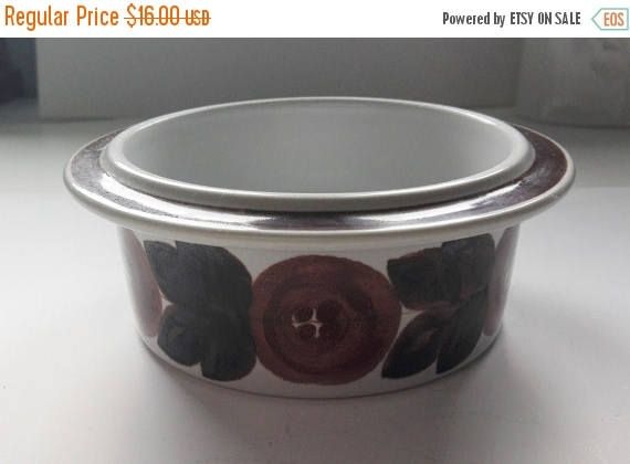 Summer sale 20% Vintage Arabia Anemone Brown Serving Bowl.