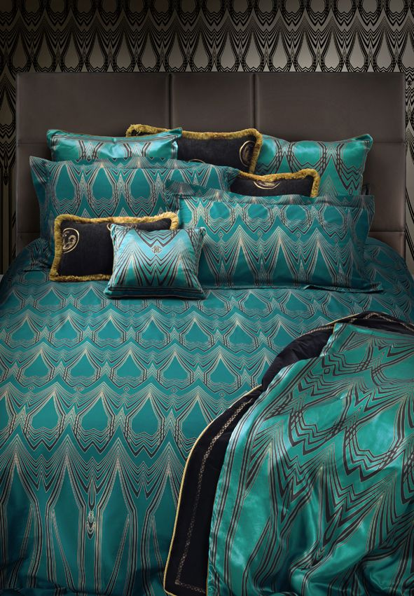 Deco Duvet Cover Blue Green Set King Luxury Bedding Art Deco