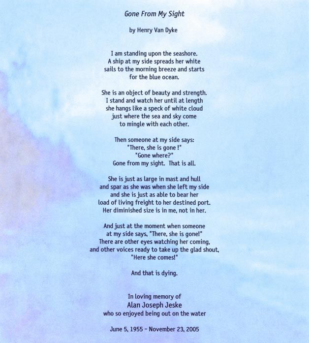 Deceased Dad Poems From Daughter | Gone from my sight poem in memory of Alan Jeske