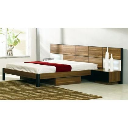 VGWCRONDO-Q Modrest Rondo Queen Size Bed with 2 Nightstands Pull Out Drawers and 2 Large Headboard Lights in Walnut Finish