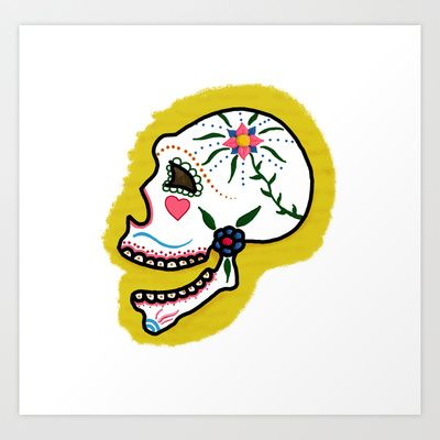 Smiling sugar skull Art Print by Constance Macé - $17.48