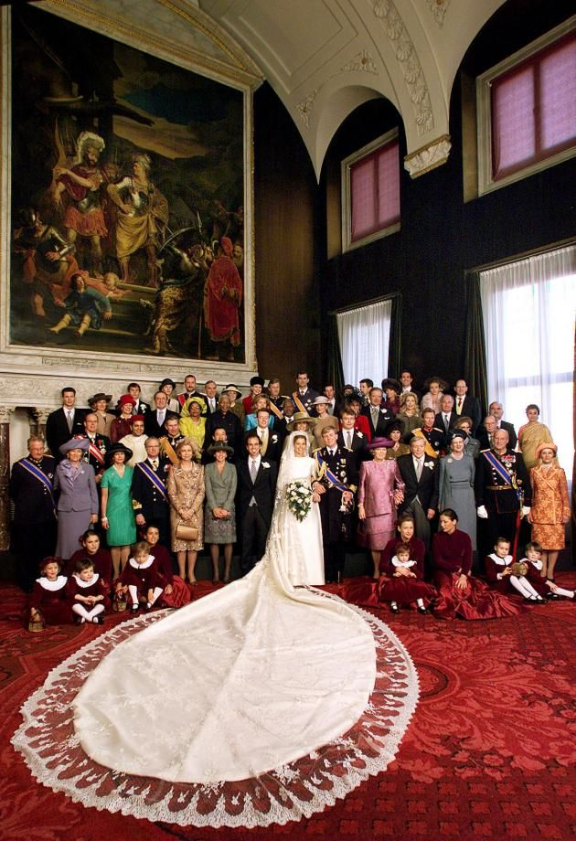 Dutch Crown Prince Willem-Alexander (in uniform) poses with Princess Maxima Zorreguieta for their official wedding portrait in Amsterdam, February 2, 2002. Some 1,750 guests attended the wedding of the eldest son of the Netherlands Queen Beatrix.