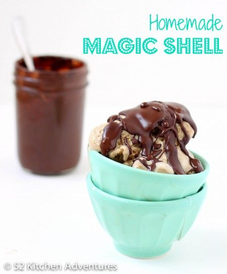 "Homemade ""Magic Shell"" Chocolate Sauce -  *7 oz. of your favorite chocolate, roughly chopped *2 T coconut oil."