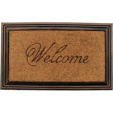 Placed on your front porch or patio, this eye-catching doormat welcomes both family and friends in classic style with its script motif and beveled border.