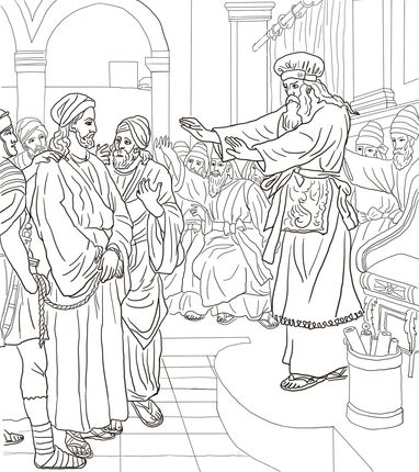 Jesus Before Caiaphas Trial coloring page
