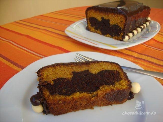 Bizcocho halloweeniano de calabaza y chocolate
