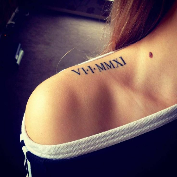 Very Nice Roman Numeral Date Tattoo On Right Shoulder For Girl