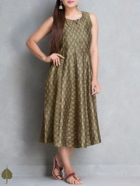Olive-Ecru Dabu Printed Chanderi Dress by Jaypore