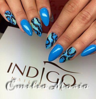 Cookie Monster Gel Brush by Emilia Dąbrowska Indigo Young Team #nails #nail #babyblue #deepblue #animal #print #indigo #spring #summer #wow #sexy