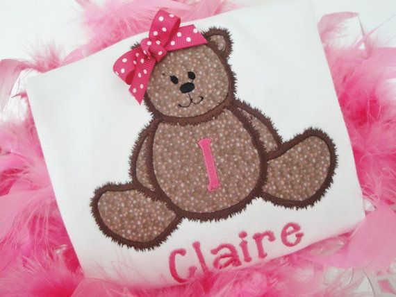 Personalized Birthday Shirt Girls Teddy Bear by OhSoCheekyBoutique, $23.99
