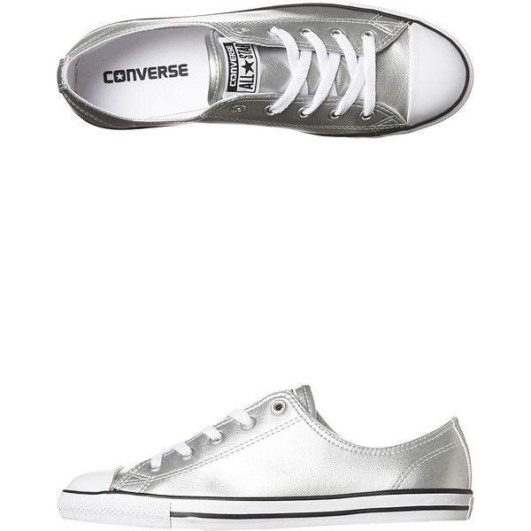 Converse Chuck Taylor All Star Dainty Shoe Silver ($53) ❤ liked on Polyvore  featuring shoes, sneakers, footwear, silver, womens footwear, white low  tops, ...
