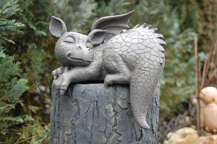 Drache Kantenhocker Gartenfigur Neuheit | eBay