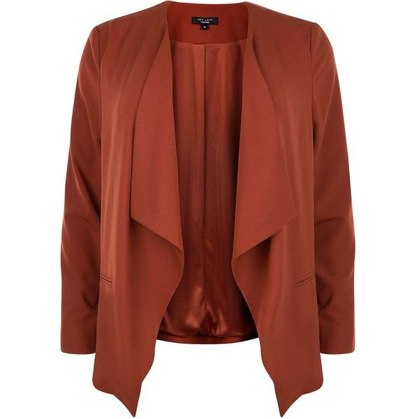 Plus Size Rust Waterfall Blazer ($46) ❤ liked on Polyvore featuring outerwear, jackets, blazers, chestnut, plus size evening jackets, long sleeve blazer, waterfall blazer, plus size jackets and womens plus size blazers