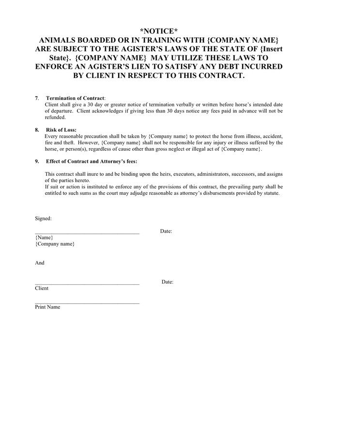 Horse Training Contract Template Lovely Equine Boarding And