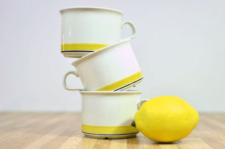 Mid Century Arabia Finland Faenza Yellow Coffee Cups Set of 3 (23.00 USD) by VintageRescuer