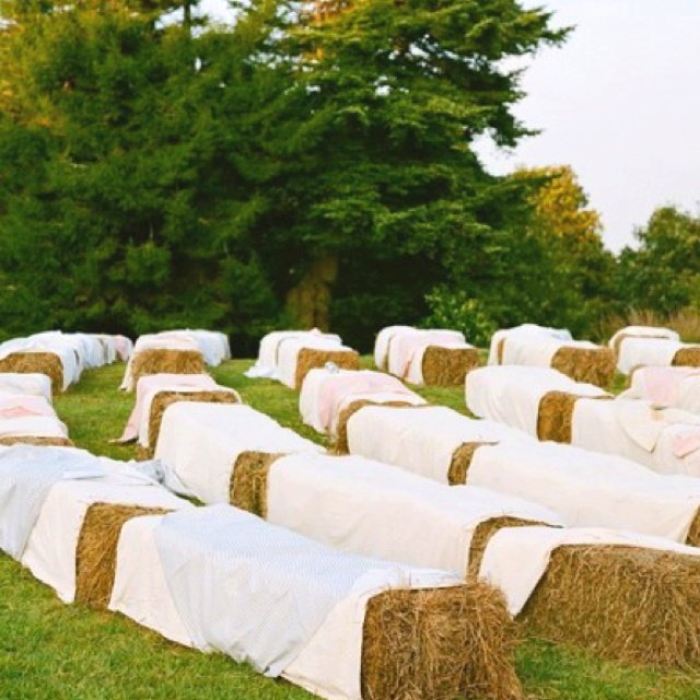 Outdoor Wedding Seating Ideas: Hay Bale Seating For Wedding Ceremony. Add Wooden Boards