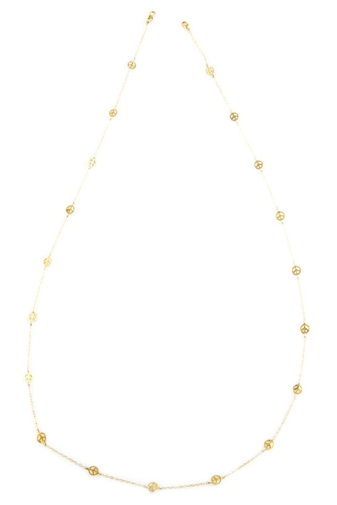 Chan Luu - Gold Tone Peace Sign Necklace, $270.00 (http://www.chanluu.com/necklaces/gold-peace-sign-necklace/)