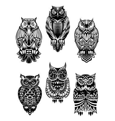 Tribal owl bird tattoo set vector - by Seamartini on VectorStock®