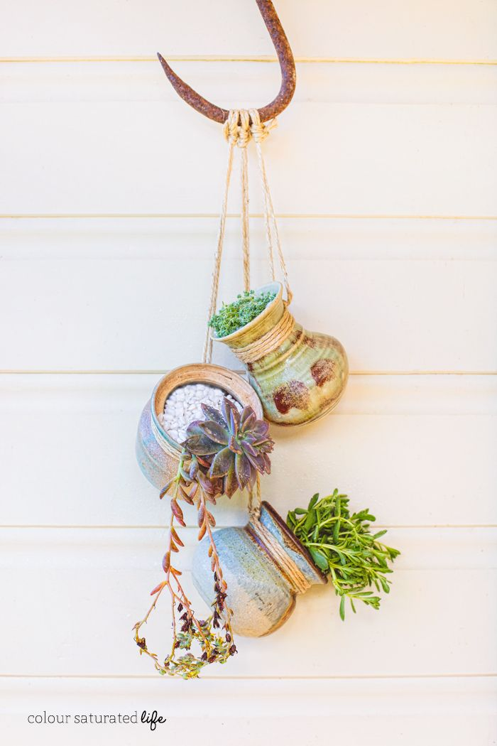 Colour Saturated Life | Upcycle Earthenware from Op-Shop to Create Hanging Pots for Succulents