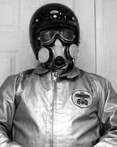 Dragster Pilot in full Race Gear, Helmet and Gasmask