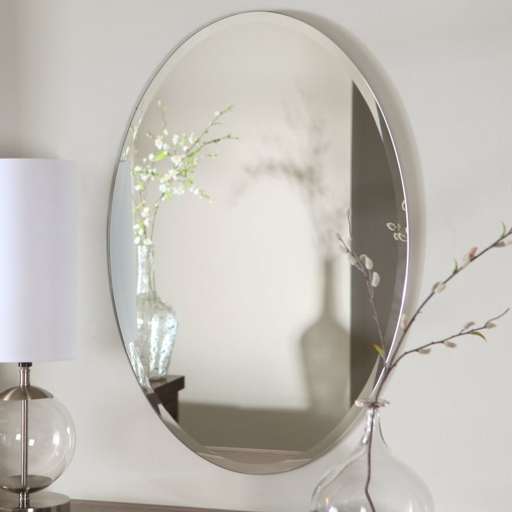 Simplistic And Beautiful In Its Design The Hiltonia Oval Bevel Frameless Wall Mirror Is Perfect For Bathrooms Or Hanging
