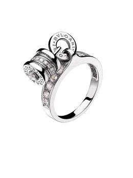 bvlgari bzero1 18k white gold diamond charm ring 18k white gold charm ring