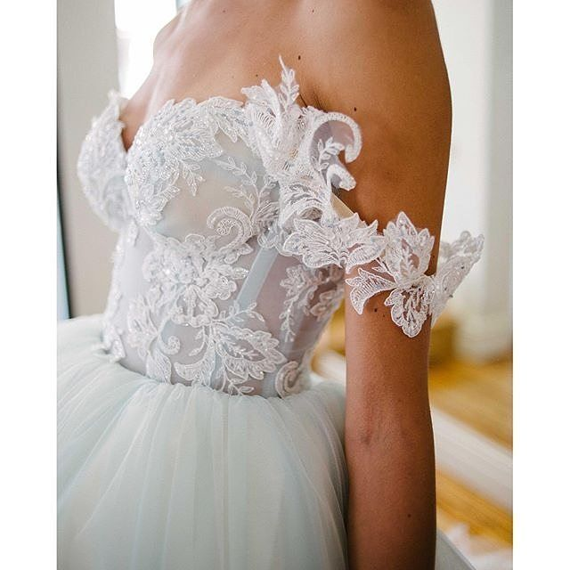 Love the details of our Cinderella sleeves and the blue shades of its tulle! What about you? #GaliaLahav Credits: /lwdbridal/
