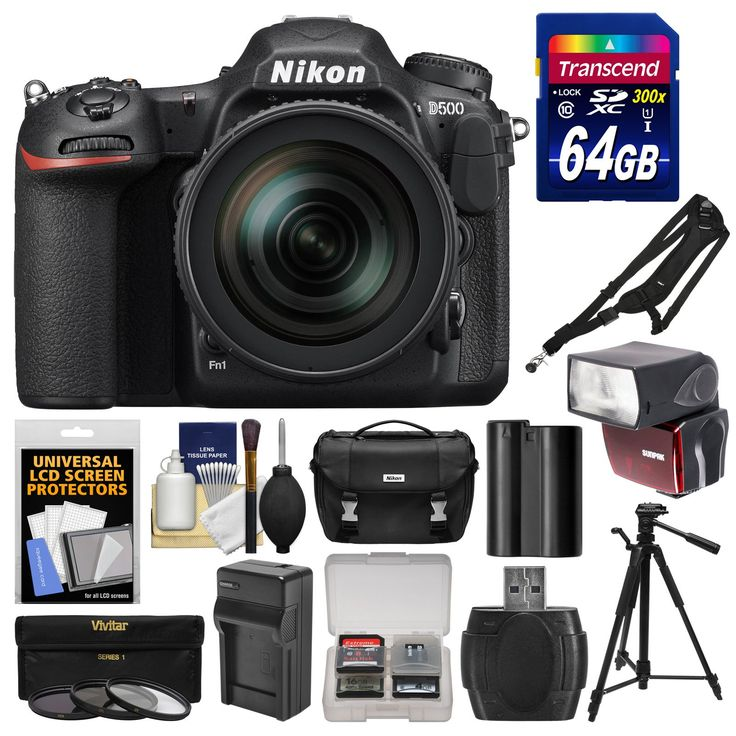 Nikon D500 Wi-Fi 4K Digital SLR Camera & 16-80mm VR Lens with 64GB Card + Case + Flash + Battery & Charger + Tripod + 3 Filters + Kit. KIT INCLUDES 13 PRODUCTS -- All BRAND NEW Items with all Manufacturer-supplied Accessories + Full USA Warranties:. [1] Nikon D500 Wi-Fi 4K Digital SLR Camera & 16-80mm VR Lens + [2] Nikon Digital SLR Camera Case + [3] Transcend 64GB SDXC 300x Card +. [4] Spare EN-EL15 Battery + [5] Battery Charger + [6] Sunpak 2800 DigiFlash (Nikon) +. [7] 72mm…