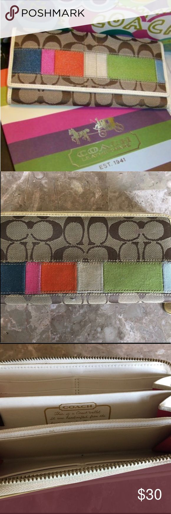 Coach Legacy multi stripe wallet COACH 40562 Legacy Stripe Signature Beige Jacquard Leather Long Wallet Clutch. EUC Coach Bags Wallets