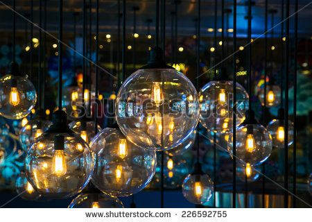 Beautiful lighting decoration in party night  - stock photo