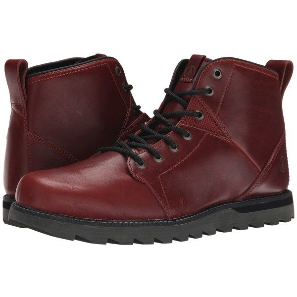 Volcom Contra (Blood Red) Men's Hiking Boots (£96) ❤ liked on Polyvore featuring men's fashion, men's shoes, men's boots, mens boots, volcom mens shoes, mens red shoes, mens red boots and mens platform boots
