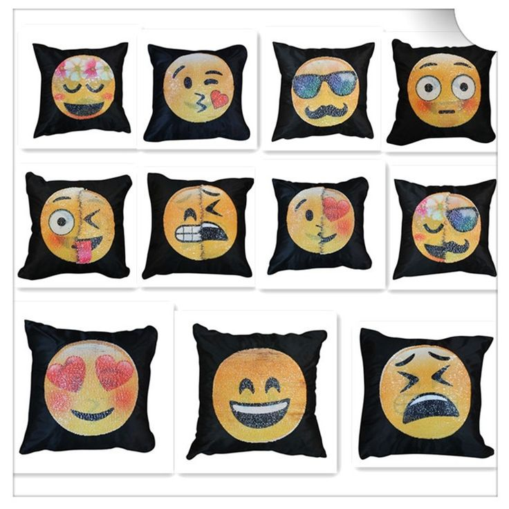 Magic Color Changing Sequin Fabric Pillow Reversible Double Face Emoji Sequin Pillow