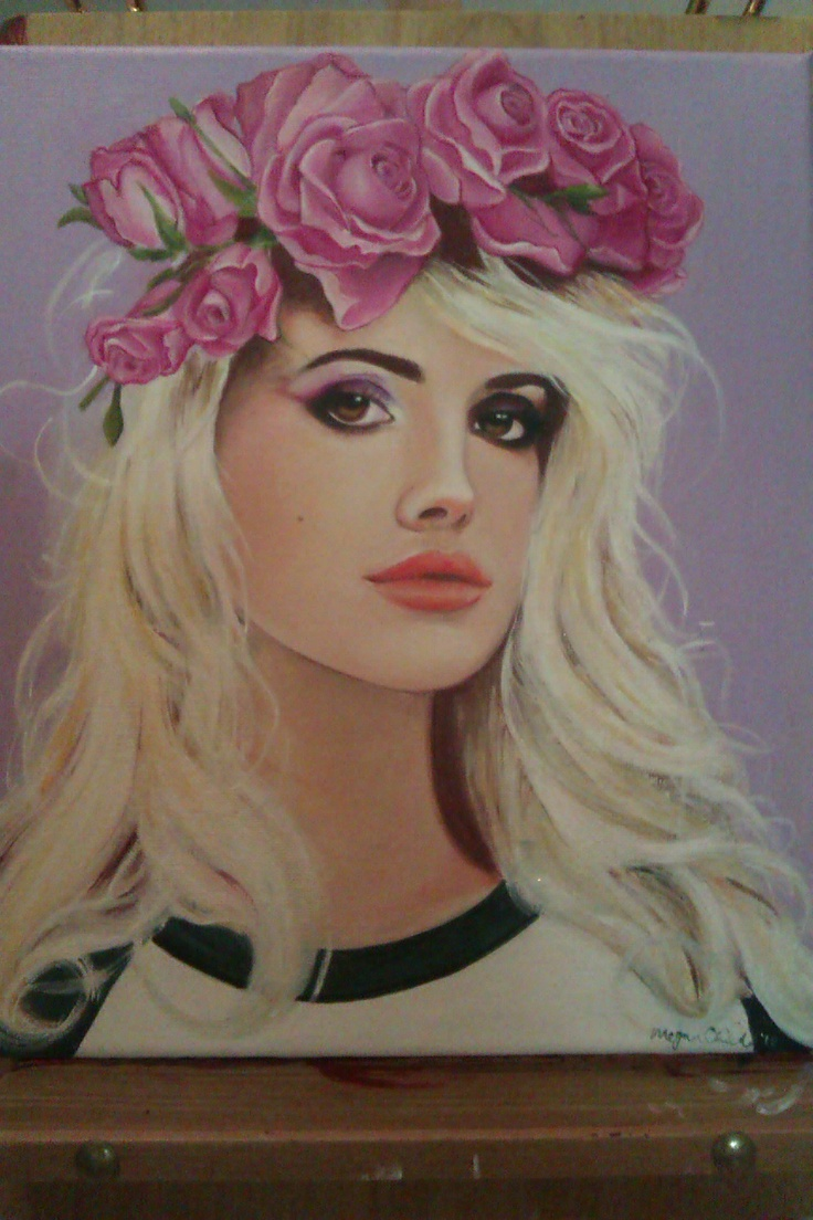 Megan Childs, Lana del Rey-'Grace'  Acrylic and Resin on canvas 30x25cm
