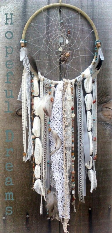 Handmade Custom DreamcatcherMade to Order Dream by DreamRaes. Usually I'm not big on using or making dream catcher stuff, but I like the lightness of it. Maybe spray paint white or white over gray and do all lace...