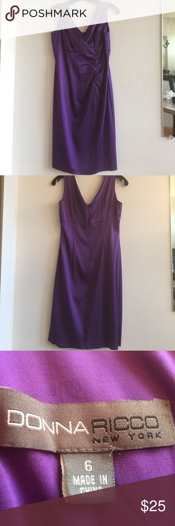 Donna Ricco dress Purple rouched size 6 dress. Slight stretch super sexy. Hits at knee.  No rips or tears Donna Ricco Dresses