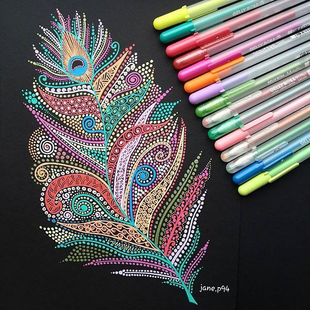 Gelly roll obsession ❤   Peacock feather✨ #penart #mandala #mandalaart #zentanglekiwi #mandalaplanet #mandalaslovers #flowerart #mandaladesign #zentangle #zen_dala #zentangleart #artistic_share #artists_rescue #sharingart #artwork #allforarts #ink #inkdrawing #flowerart #doodle #doodlesofinstagram #doodlelove #colorfulart