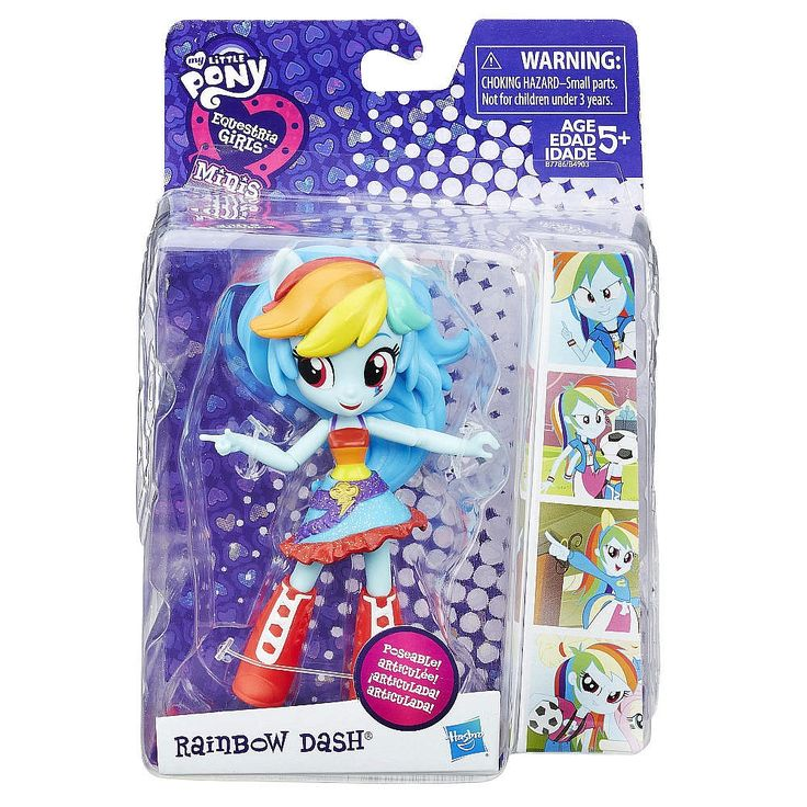 This My Little Pony Equestria Girls Minis Rainbow Dash doll is fun to pose! Pretend to express the personality of Rainbow Dash with this cute mini-doll with articulated arms and legs. The Rainbow Dash doll has her signature school look and hairstyle. Get ready to imagine sharing friendship adventures with this great, poseable doll. Also look for other My Little Pony Equestria Girls Minis dolls! (Each sold separately. Subject to availability.)<br><br>Includes doll.<br><br>Poseable…